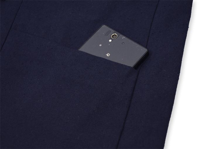地厚生地作務衣用 羽織 IKISUGATA 濃紺 ポケット部分