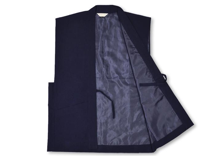 地厚生地作務衣用 羽織 IKISUGATA 濃紺 内側