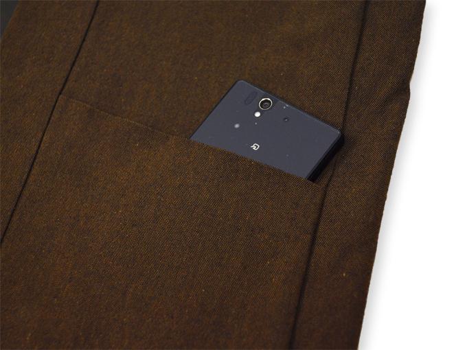 地厚生地作務衣用 羽織 IKISUGATA 茶(ブラウン) ポケット部分