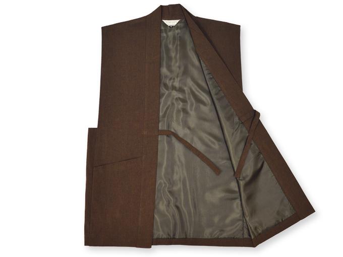 地厚生地作務衣用 羽織 IKISUGATA 茶(ブラウン) 内側