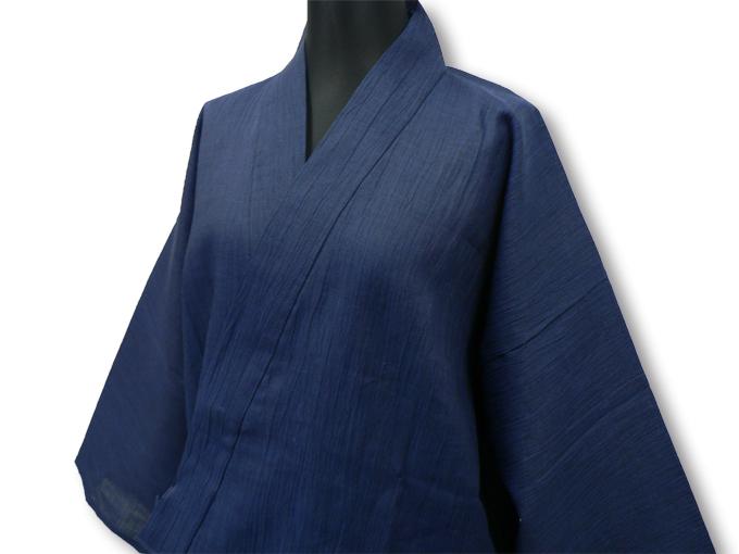 近江ちぢみ本麻楊柳作務衣(日本製) 濃紺 マネキン着用左