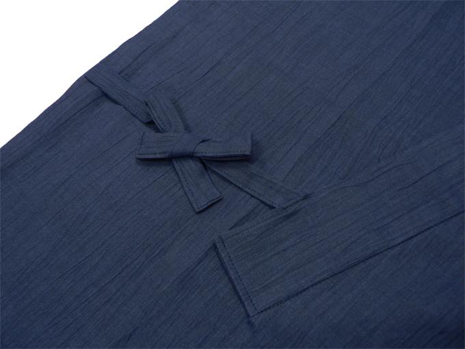 近江ちぢみ本麻作務衣(日本製) 濃紺 上着紐部分
