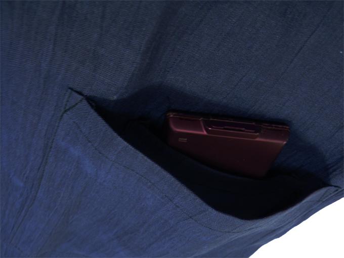 近江ちぢみ本麻楊柳作務衣(日本製) 濃紺 上着ポケット部分