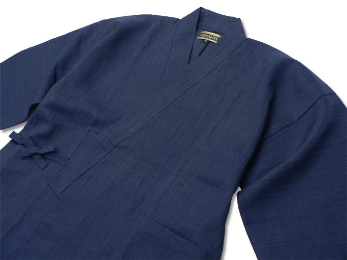 近江ちぢみ本麻楊柳作務衣(日本製) 濃紺 上着