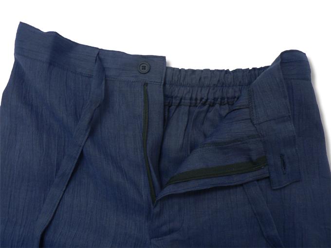 近江ちぢみ本麻楊柳作務衣(日本製) 濃紺 ズボンウエスト部分