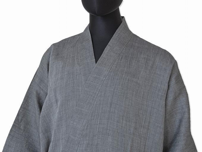 近江ちぢみ本麻作務衣(日本製) グレー/ マネキン着用
