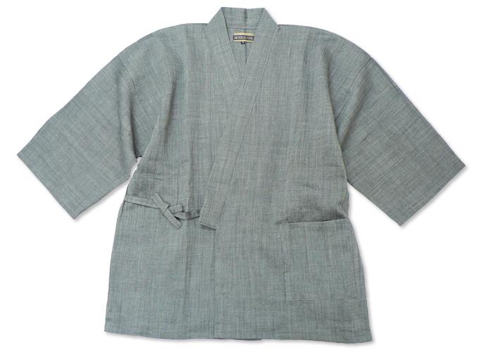 近江ちぢみ本麻楊柳作務衣(日本製) グレー/ネズ