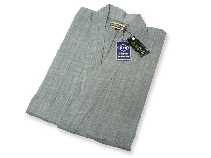 近江ちぢみ本麻楊柳作務衣(日本製) グレー/ネズ 畳み