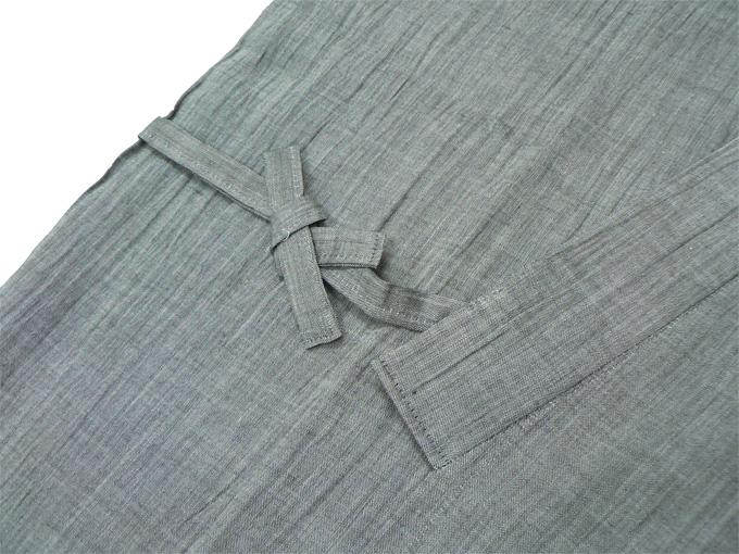 近江ちぢみ本麻楊柳作務衣(日本製) グレー/ネズ 上着紐部分
