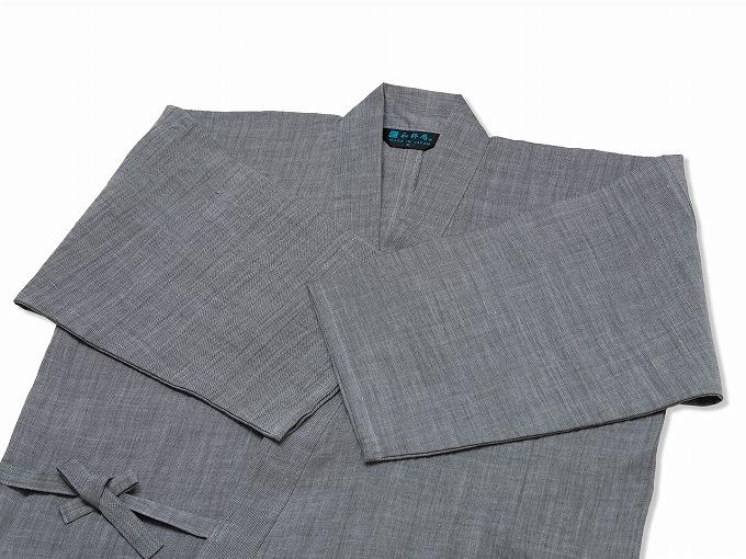 近江ちぢみ本麻作務衣(日本製) グレー/ 上着