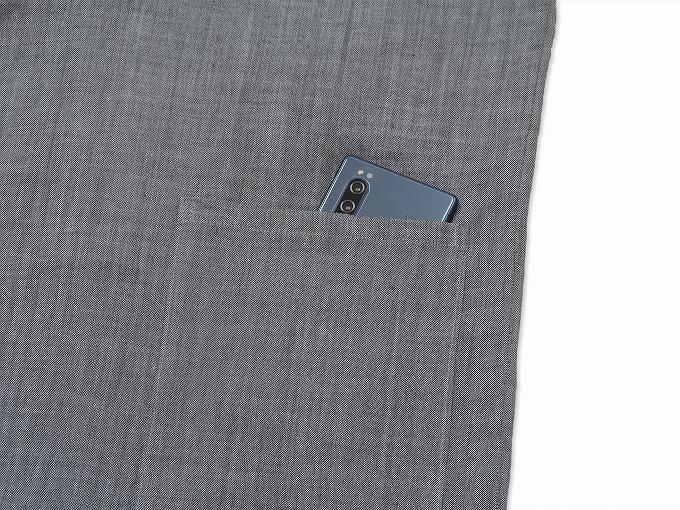 近江ちぢみ本麻作務衣(日本製) グレー/ 上着ポケット部分
