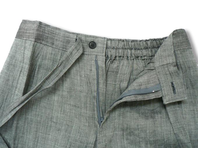 近江ちぢみ本麻楊柳作務衣(日本製) グレー/ネズ ズボンウエスト部分