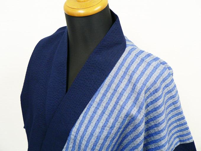 綿しじらデザイン作務衣 2番 紺×ブルー