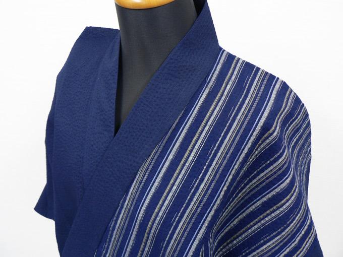 綿しじらデザイン作務衣 3番 紺×紺白
