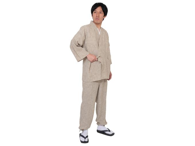 麻ライク作務衣 日本製 全身着用写真