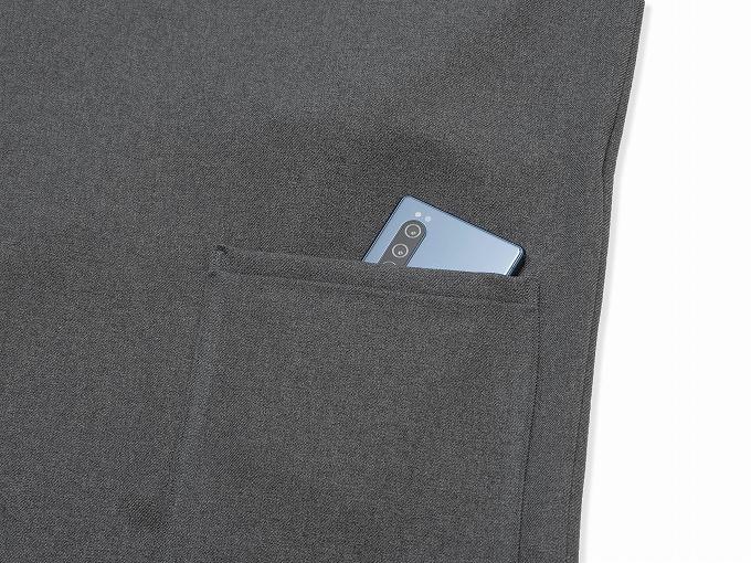 ウールライク作務衣 上着ポケット部分