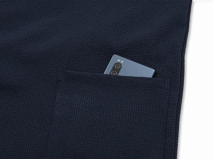 クールマックス・サッカー作務衣 日本製 紐部分