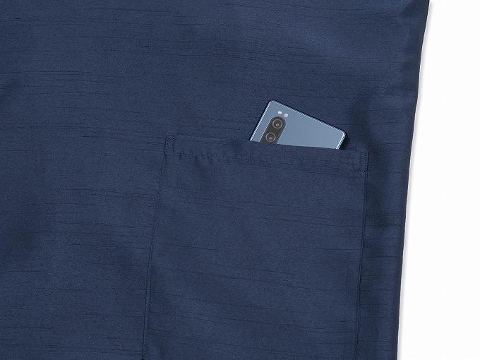シルクライク紬裏地付作務衣 日本製 紐部分