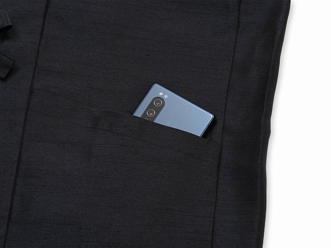 シルクライク羽織 上着ポケット部分