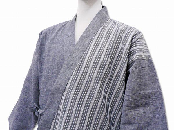 綿麻楊柳デザイン作務衣 グレー(ネズ)