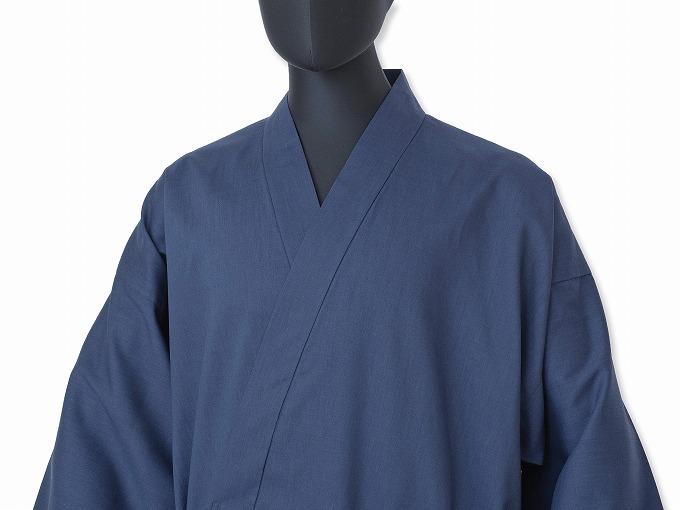 テト麻筒袖作務衣  1番色 濃紺