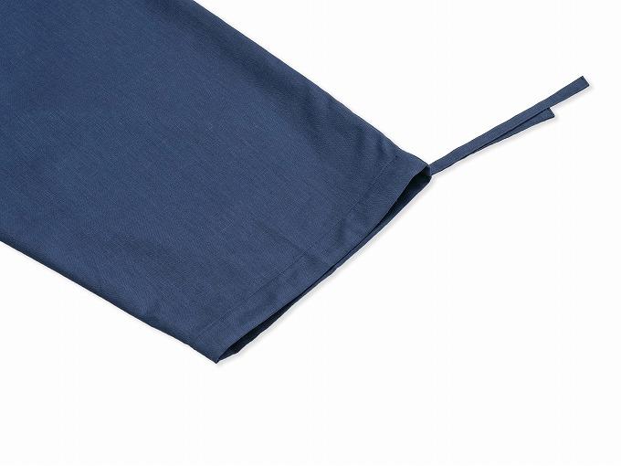 テト麻筒袖作務衣 濃紺