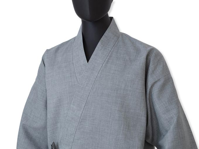 テト麻筒袖作務衣  2番色 グレー