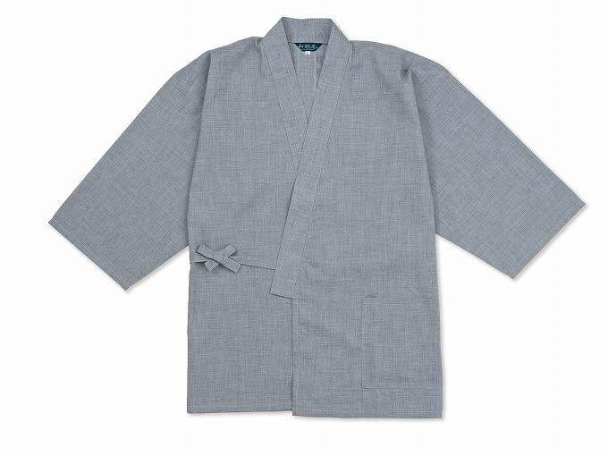 テト麻筒袖作務衣 グレー