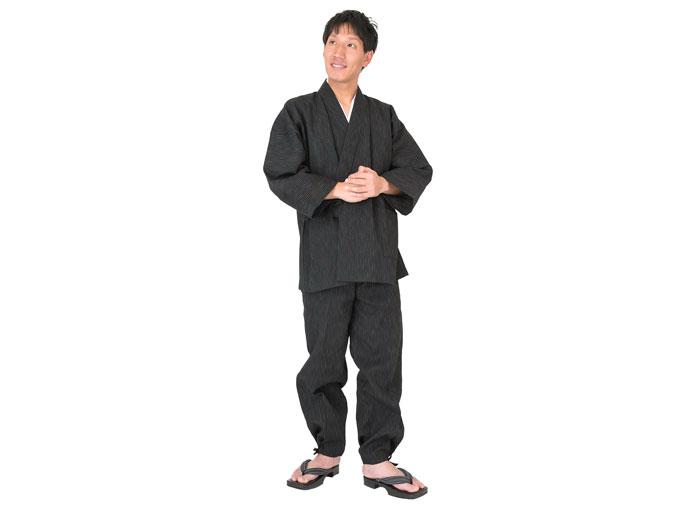 近江ちぢみ絣織作務衣  人物着用写真 ※モデルは身長173cm 体重65kg Mサイズ着用
