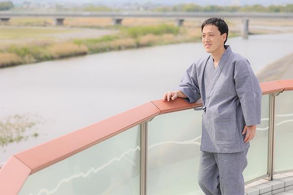 近江ちぢみ絣織作務衣 グレー イメージ写真