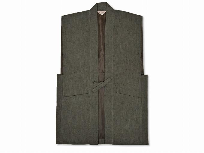 日本製たてスラブ作務衣羽織 グリーン