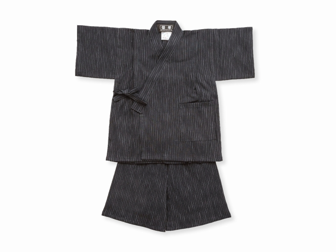 子供用近江ちぢみ絣織甚平 濃紺 ズボン裾