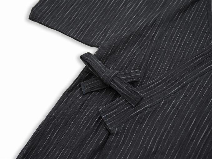 子供用近江ちぢみ絣織甚平 黒 上着紐