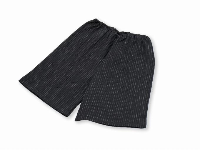 子供用近江ちぢみ絣織甚平 黒 ズボン
