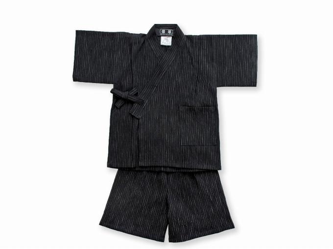 子供用近江ちぢみ絣織甚平 黒 ズボン裾