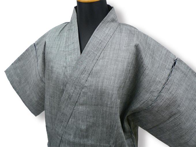 本麻楊柳甚平(日本製) グレー マネキン着用左