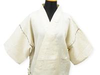 本麻楊柳甚平(日本製) 薄ベージュ マネキン着用正面