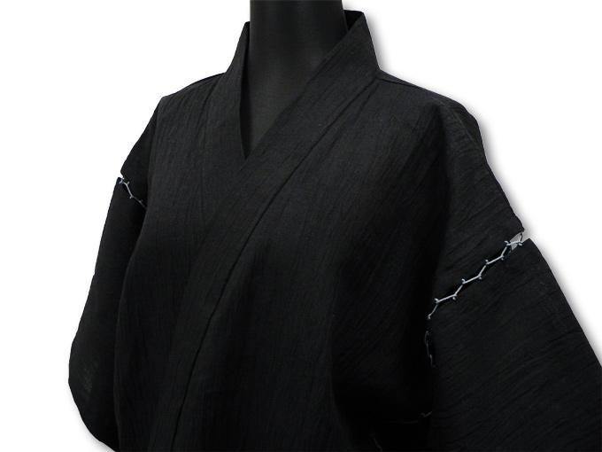 本麻楊柳甚平(日本製) 黒 マネキン着用左