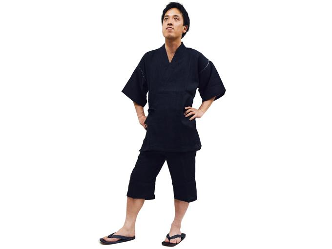 本麻楊柳甚平(日本製) 黒 着用写真
