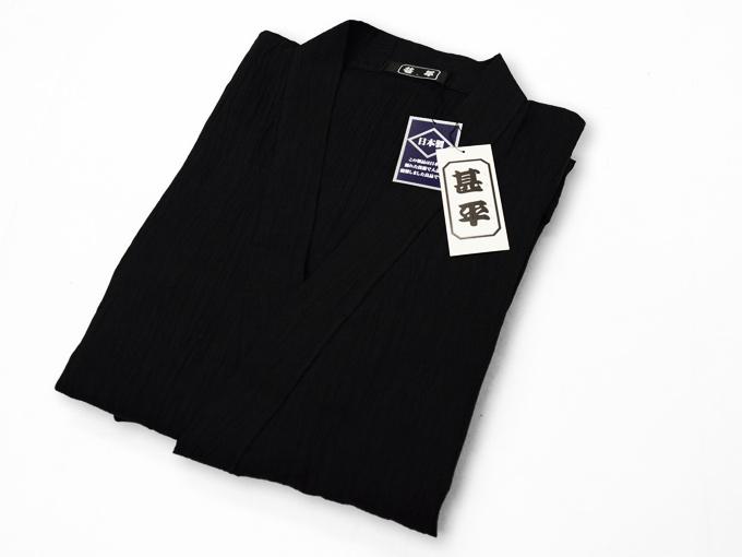 本麻楊柳甚平(日本製) 黒 ブラック 畳み
