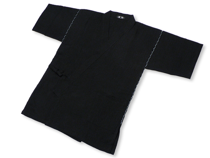 本麻楊柳甚平(日本製) 黒 ブラック 上着