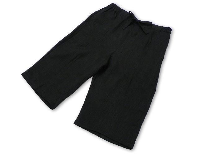 本麻楊柳甚平(日本製) 黒 ブラック ズボン