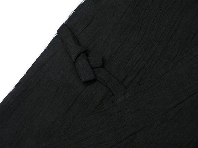 本麻楊柳甚平(日本製) 黒 ブラック