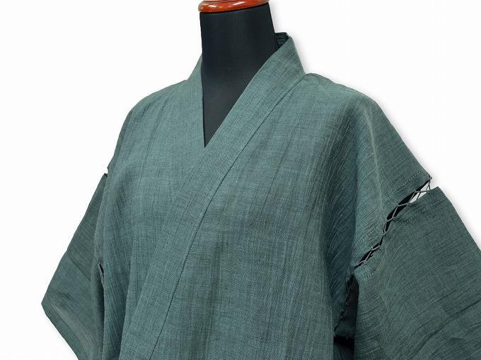 本麻楊柳甚平(日本製) グリーン マネキン着用