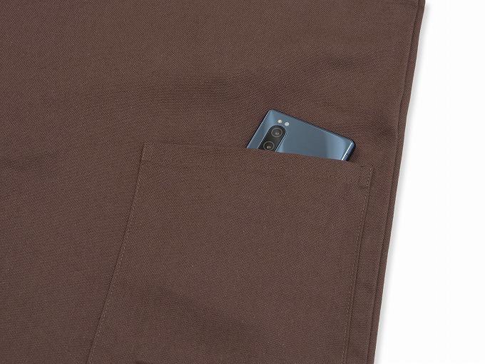 武州コーヒー染作務衣 上着ポケット部分