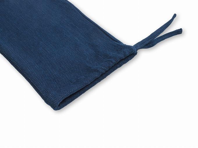 【日本製】 本藍染刺子織作務衣 【和粋庵】ズボンウエスト総ゴム+総通し紐
