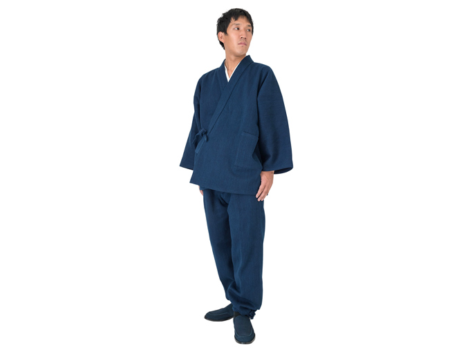本藍染刺子織作務衣