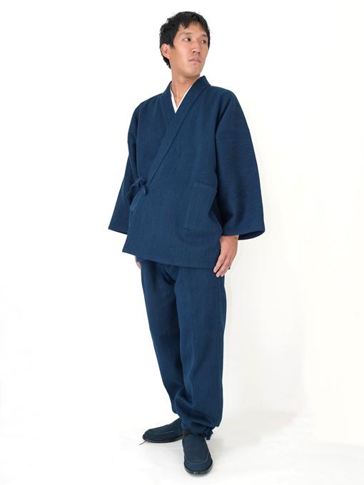 【日本製】 本藍染刺子織作務衣 【和粋庵】 生地拡大