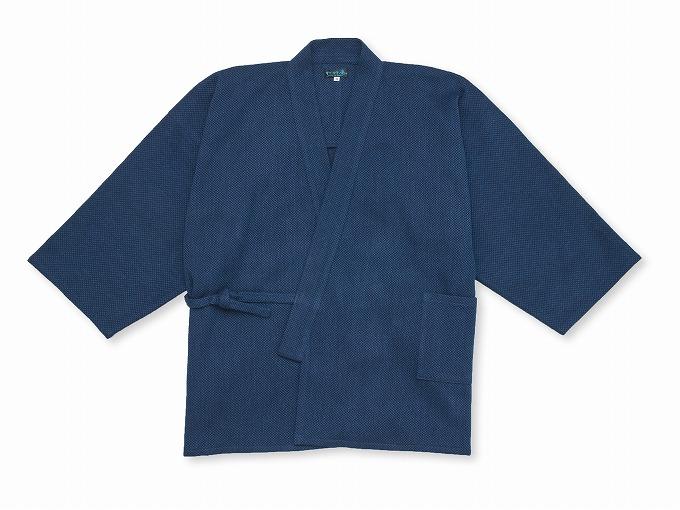 【日本製】 本藍染刺子織作務衣 【和粋庵】 上着衿