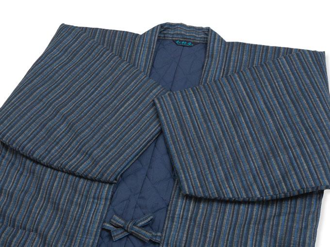 織縞模様綿入袢天 平置き
